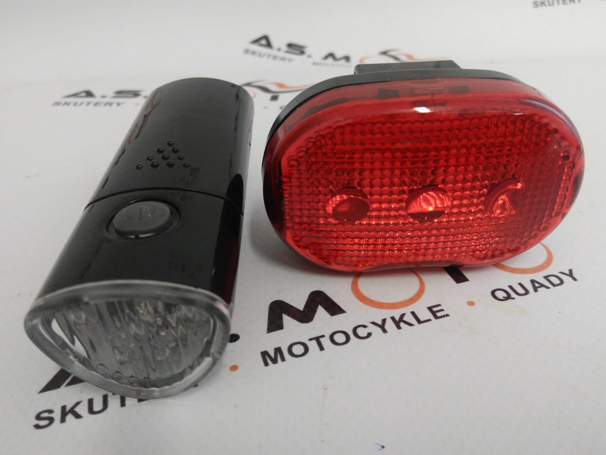 Lampki światło Oświetlenie Rowerowe Kpl Przód I Tył Led